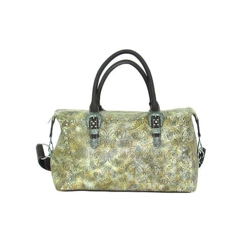 Savana Western Duffel Bag Womens Tooled Faux Leather Zip Top - 18 x 11 x 8.5