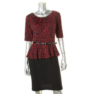 Connected Apparel Womens Petites Peplum Lined Wear to Work Dress