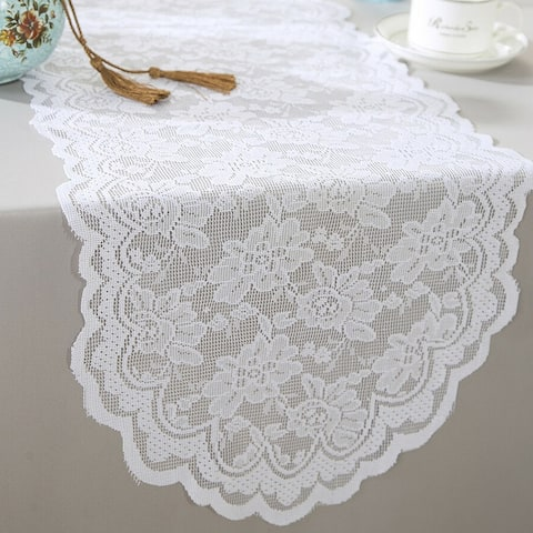 """Polyester Lace Table Runner White - 13.5"""" x """"108"""
