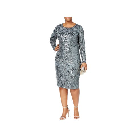 Betsy & Adam Womens Plus Semi-Formal Dress Long Sleeves Knee-Length