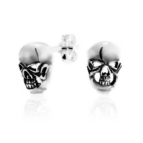 Bling Jewelry Gothic Punk Rock Skull Stud earrings 925 Sterling Silver 10mm