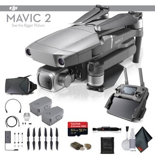 DJI Mavic 2 Pro (CP.MA.00000019.01) With 64GB Memory Card, Extra Battery, VR Viewer and More - Essential Bundle