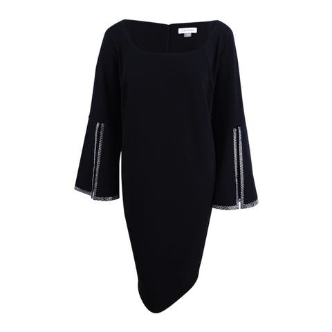 1db66bf2d9b2c7 Calvin Klein Women's Plus Size Embellished Split-Sleeve Dress - Black