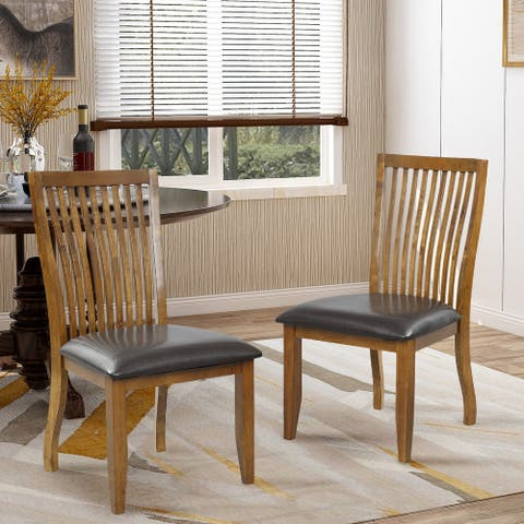 Wood Dining Chair Set with PU Covered Cushion (Set of 2)