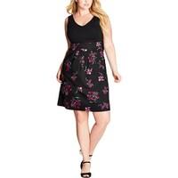 c9719ed675111 Shop Soprano Womens Plus Mini Dress Floral Print Sweetheart Neck ...