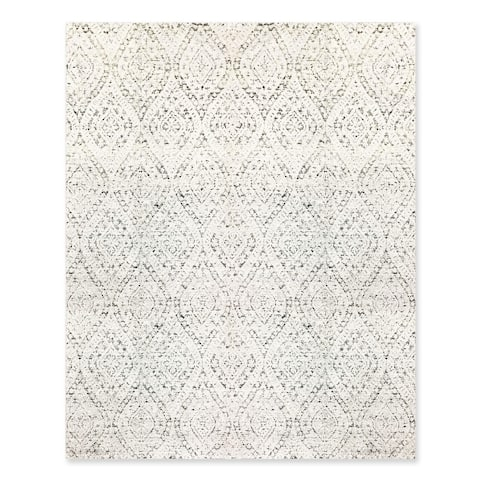 Hand Knotted Ivory,Gray Oriental Area Rug Bamboo Silk Contemporary Oriental Area Rug (8x10) - 8' x 10'