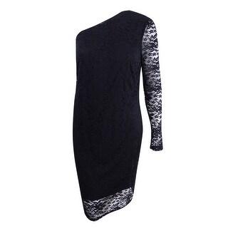 Soprano Women's Trendy Plus Size One-Shoulder Lace Dress (2X, Black) - Black - 2x
