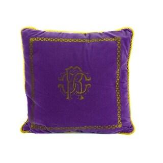 Roberto Cavalli Home Decorative Purple Cotton Square Venezia Cushion