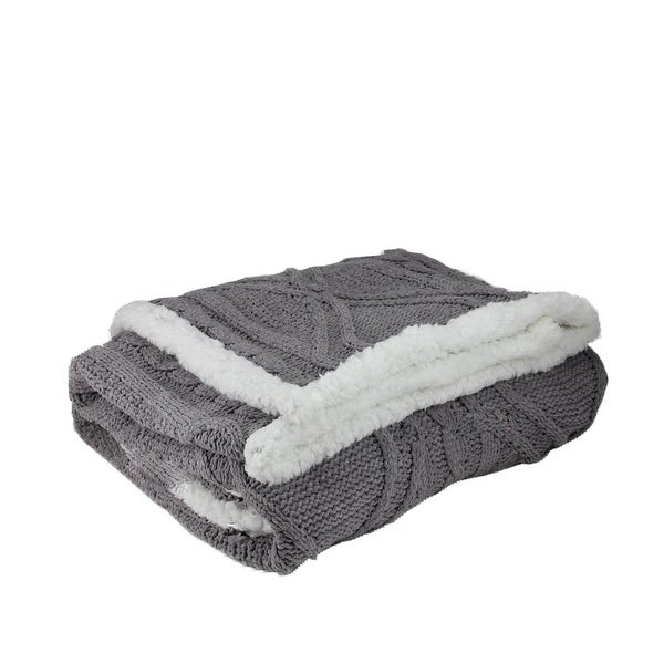 "Gray Cable Knit Plush Sherpa Throw Blanket 50"" x 60"""
