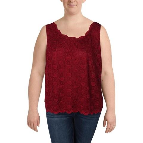 Tahari ASL Womens Plus Tank Top Lace Textured