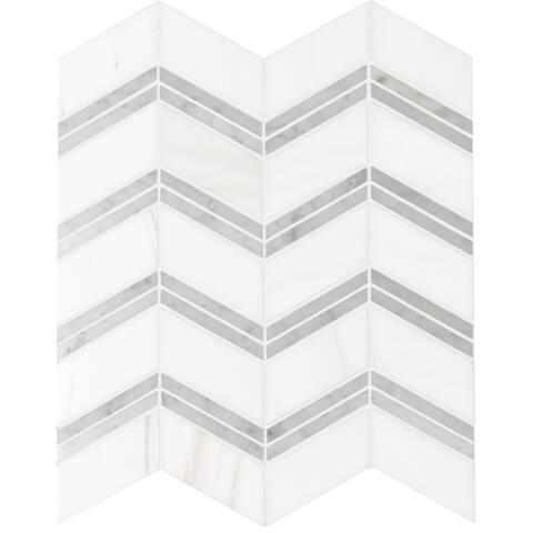 """MSI SMOT-DOL-CHEP Bianco Dolomite - 12"""" x 12"""" Chevron Mosaic Sheet - - White"""
