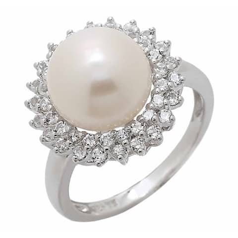 Pearl Lustre White Pearl Ring with two row of White Topaz.