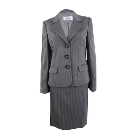 Le Suit Women's Striped Three-Button Skirt Suit (8, Earl Grey) - Earl Grey - 8