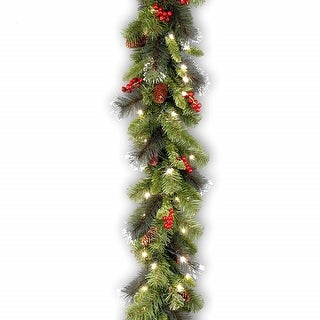 "9' x 10"" Pre-Lit Berries and Pines with Silver Bristle Artificial Christmas Garland - Clear Dura-Lit Lights"
