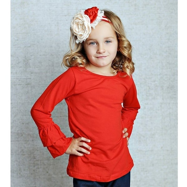691f6ad89b3 Shop Lollies   Lace Baby Girls Red Ruffle Cuffs Long Sleeved Cotton T-Shirt  - Free Shipping On Orders Over  45 - Overstock - 18122199