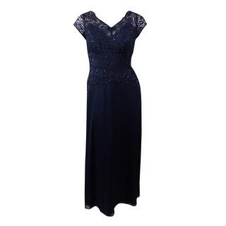 Onyx Nite Women's Glittered Sequined Lace Chiffon Dress