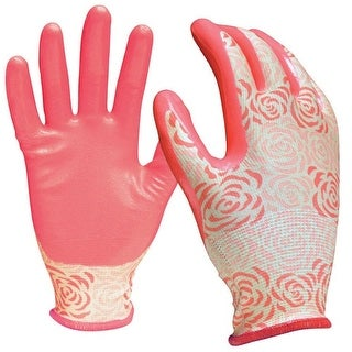 Digz 7601-26 Nitrile Coated Gardening Gloves, Pink