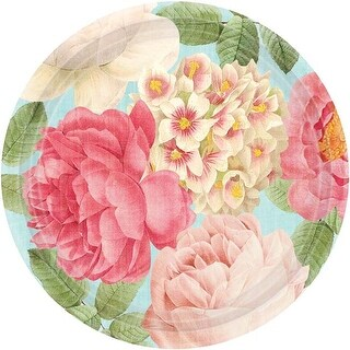 "Green & Pink - Blissful Blooms Round Plate 10.5"" 18/Pkg"
