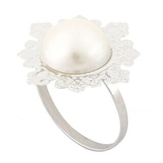 Household Acrylic European Style Dinner Napkin Serviette Holder Ring Silver Tone