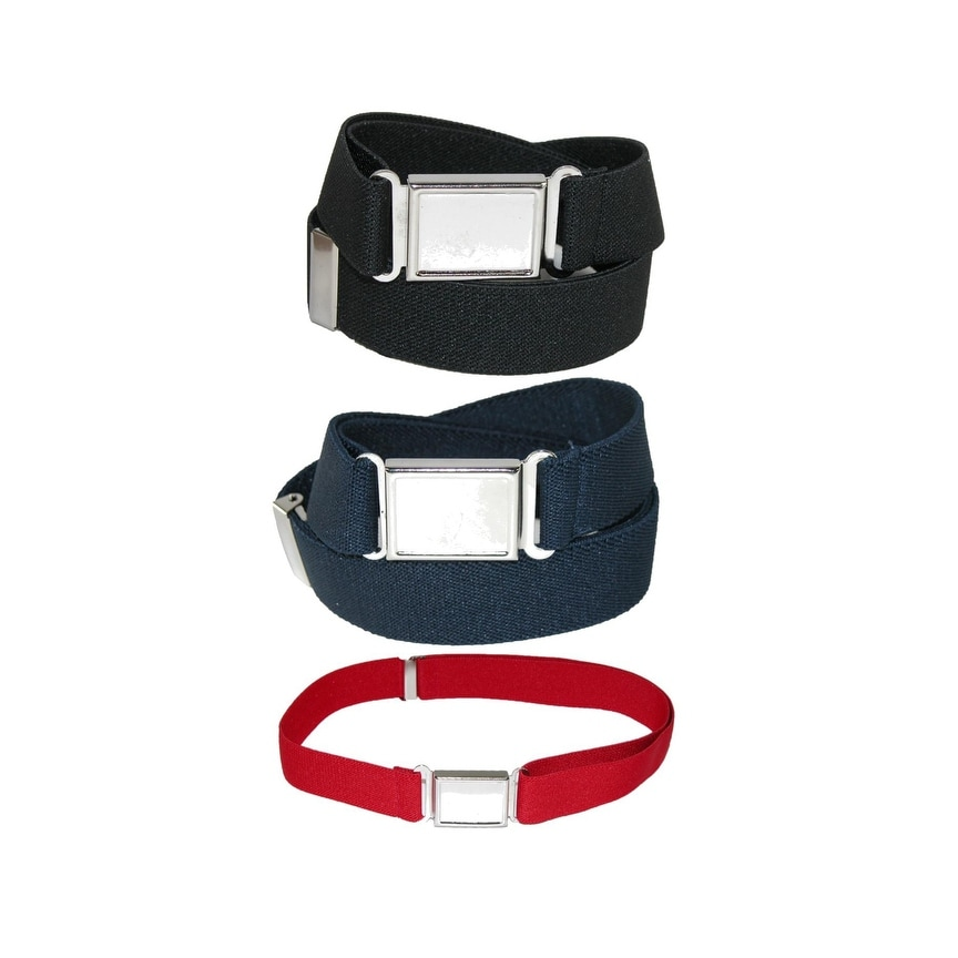 Pack of 2 Colors CTM Plus Size Elastic Belt with Magnetic No Show Flat Buckle