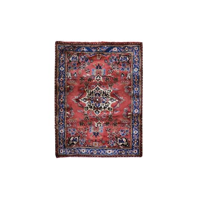 """Shahbanu Rugs New Persian Hamadan Small Medallion Design Red Hand Knotted Pure Wool Oriental Rug (3'7"""" x 4'10"""") - 3'7"""" x 4'10"""""""
