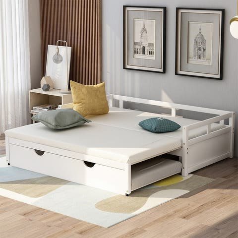 Merax Twin/King Expandable Sleeper Daybed with Trundle