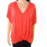 Lush Womens Small Twist-Detail V-Neck Solid Knit Top