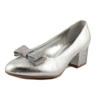 Nina Kids Gisel Youth Round Toe Leather Silver Heels