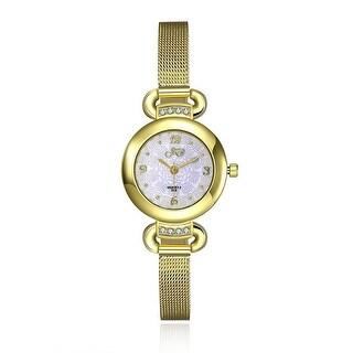 Petite Gold Tone Mesh Band Ivory Watch