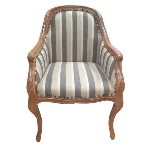 Striped Fabric Arm Wooden Frame Side Sofa Chair, Gray and White