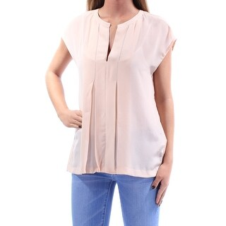 LUCKY BRAND $99 Womens New 1173 Pink Pleated V Neck Cap Sleeve Blouse XS B+B