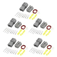 Unique Bargains 5 Kits Wire Connector Plug in 6 Pin Waterproof Weather Proof Electrical Car Gray