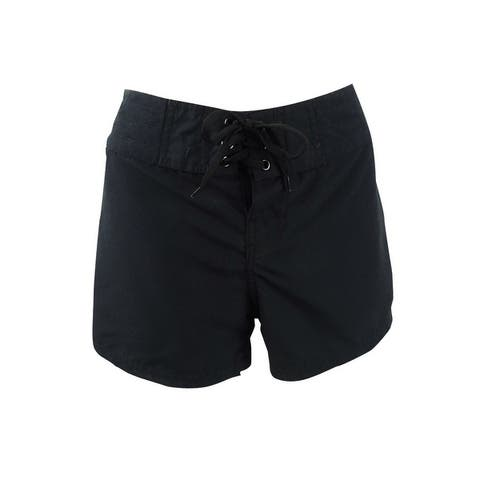 Island Escape Women's Solid Black Board Shorts