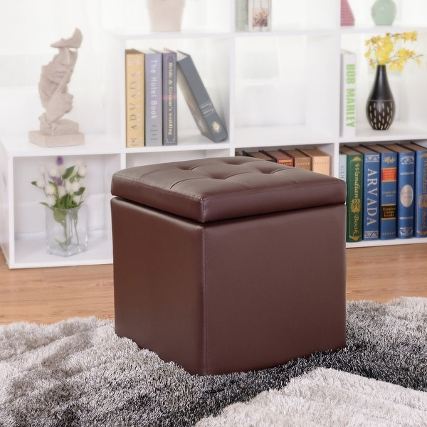 Gymax 16'' Storage Box Ottoman Square Seat Foot Stool Chair Lounge Cube Hinge Top Brown