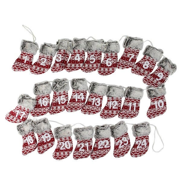 """94"""" Red, White and Brown Countdown Christmas Stocking Garland - Unlit"""