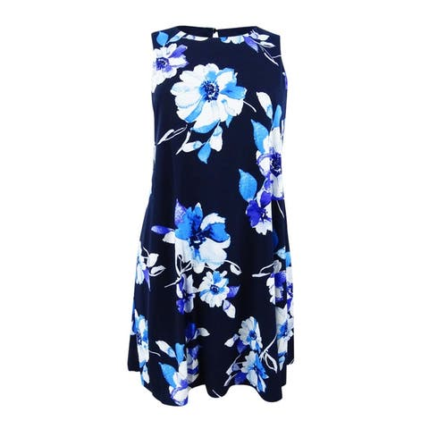 Jessica Howard Women's Petite Floral-Print Trapeze Dress - Blue
