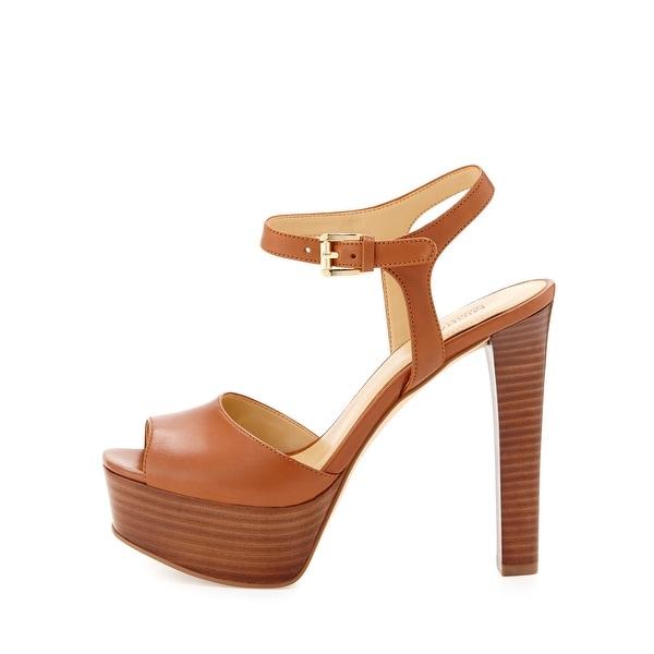 Michael Kors Womens Trish Suede Peep Toe Ankle Strap Platform Pumps