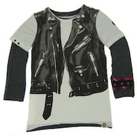 Mini Shatsu Little Boys White Black Rock Leather Jacket Vest Twofer Shirt 2T