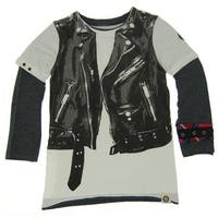 Mini Shatsu Little Boys White Black Rock Leather Jacket Vest Twofer Shirt 7