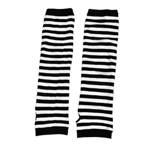 Lady Fingerless Stripes Prints Fabric Arm Long Gloves Warmers Pair - White Black