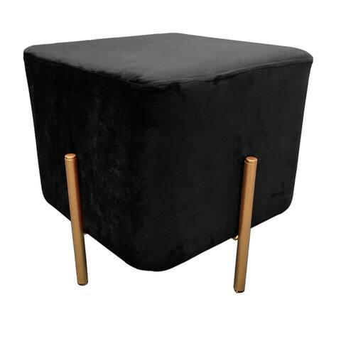 Modern Hannah Square Black Velvet Stool