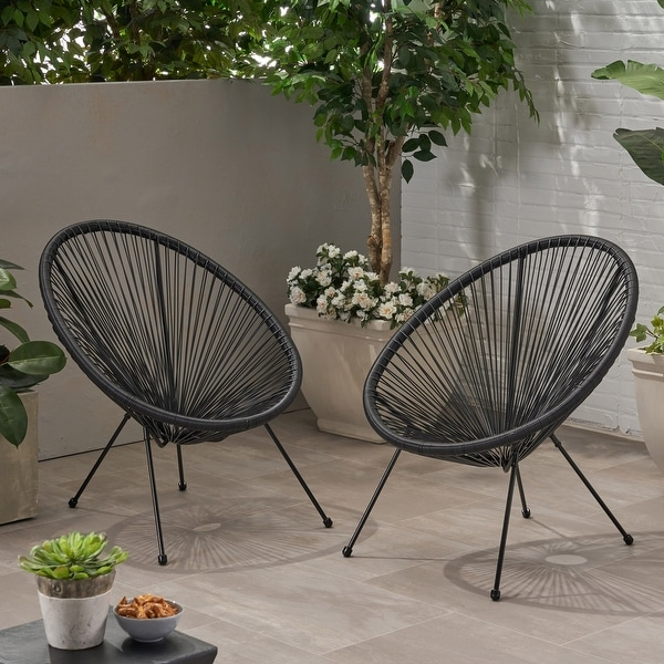 Anson Outdoor Steel Chairs W Hammock Rattan Seating Set Of 2 By Christopher Knight Home On Sale Overstock 27569276