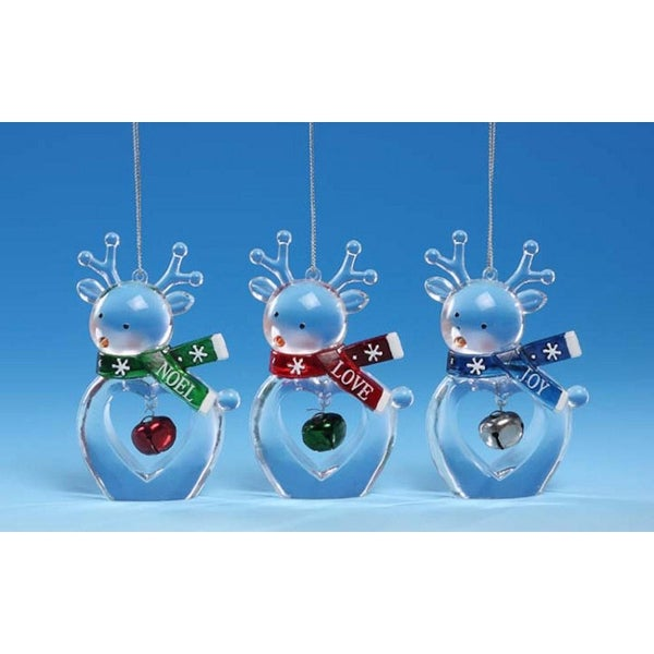 """Club Pack of 12 Icy Crystal Decorative Christmas Deer Ornaments 3.5"""""""