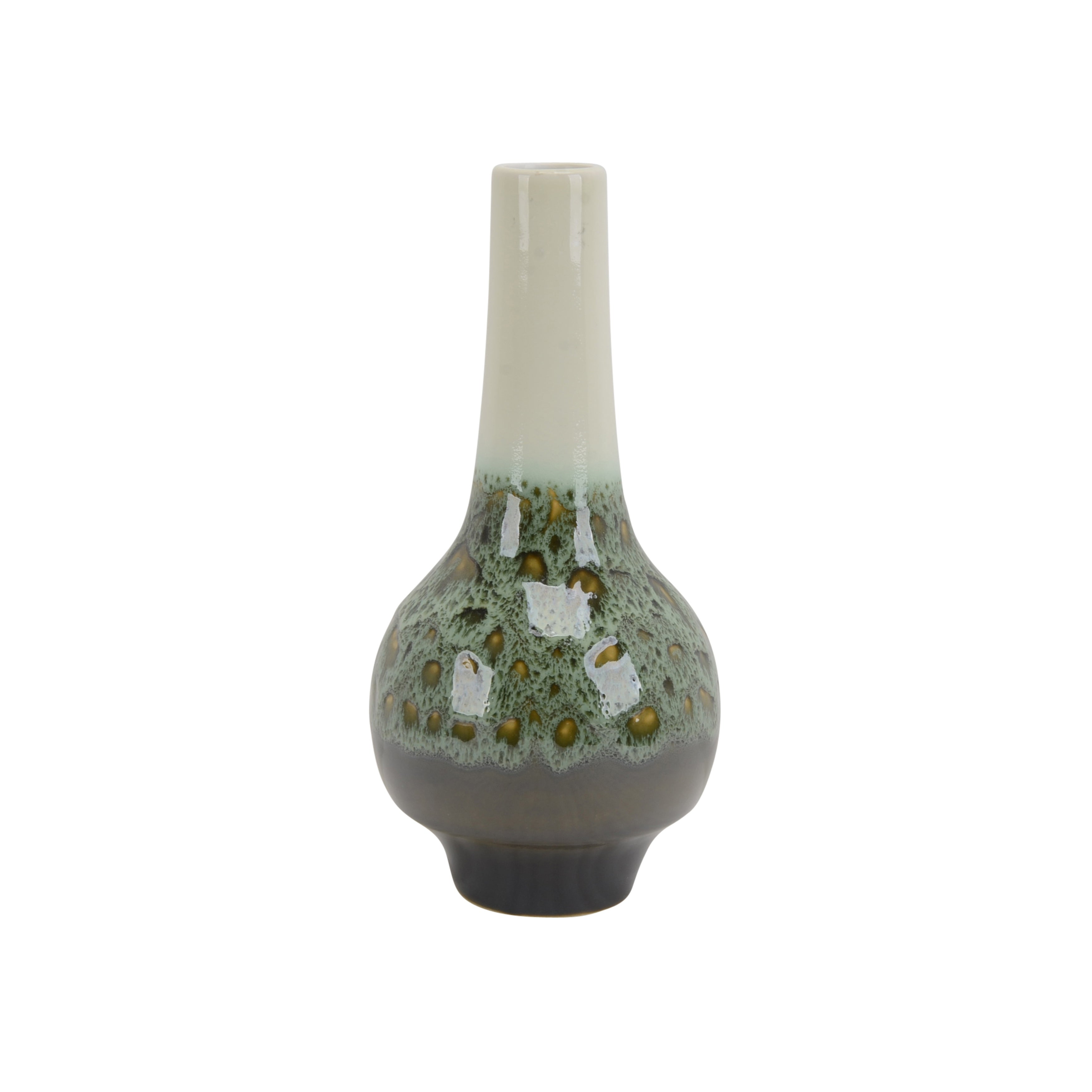 Contemporary Ceramic Bottle Vase with Elongated Neck, Multicolor