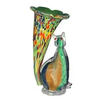 "10.25"" Caribbean Green, Red, and Blue Cat Lily Hand Crafted Glass Favrile Accent Lamp - Red"