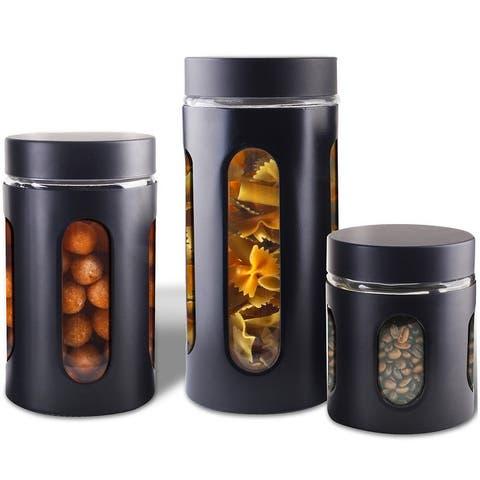 Premius Airtight 3-Piece Kitchen Glass Canister Set