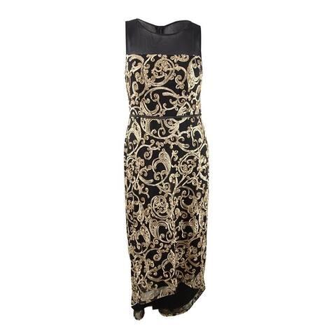 Connected Women's High-Low Soutache Gown - Black/Gold