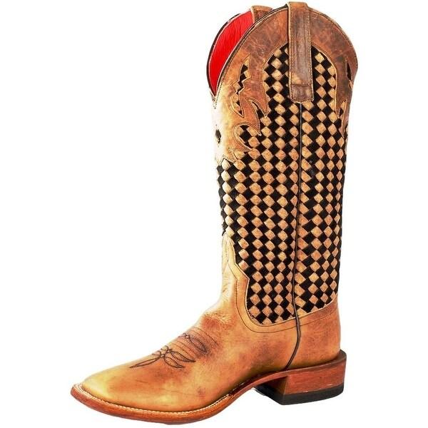 Macie Bean Western Boots Womens German Chocolate Weave Tan Black
