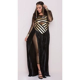 Plus Size Goddess Isis Costume, Plus Size Egyptian Costume - Black/Gold