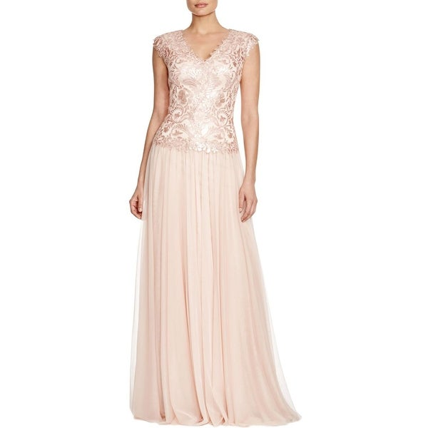 210479174d Shop Tadashi Shoji Womens Evening Dress Mesh Sequined - Free Shipping Today  - Overstock - 17062831